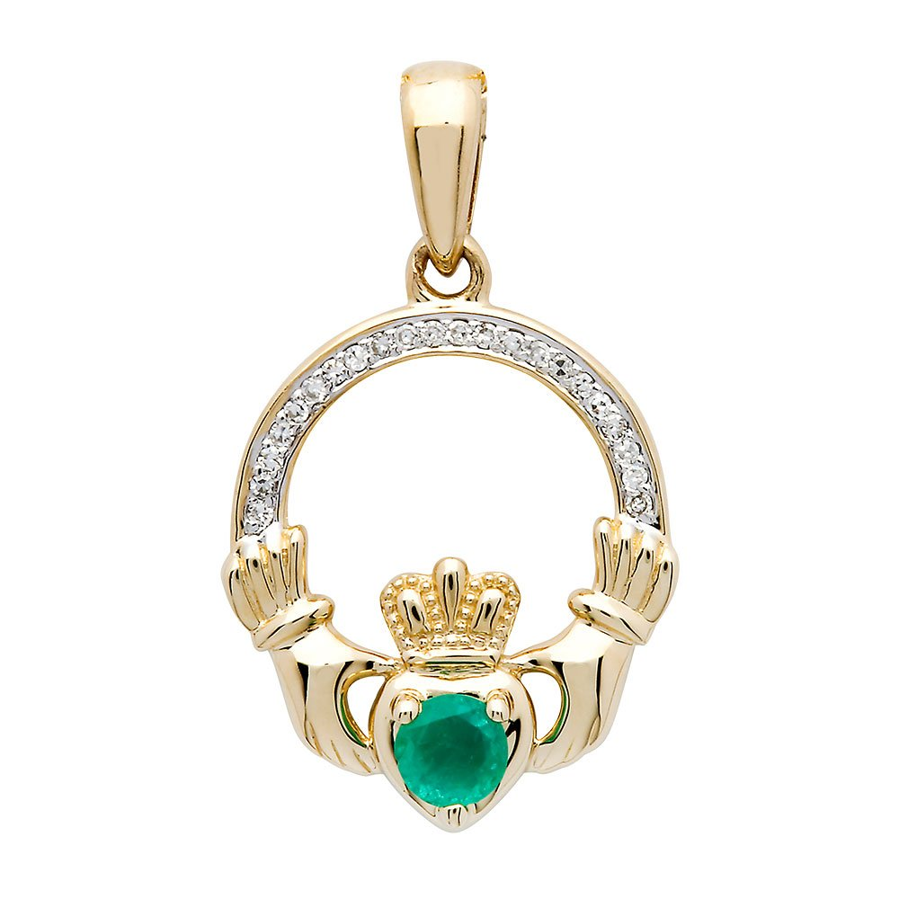 14K-Yellow-Gold-Claddagh-Pendant-Set-With-Emerald-And-Diamond