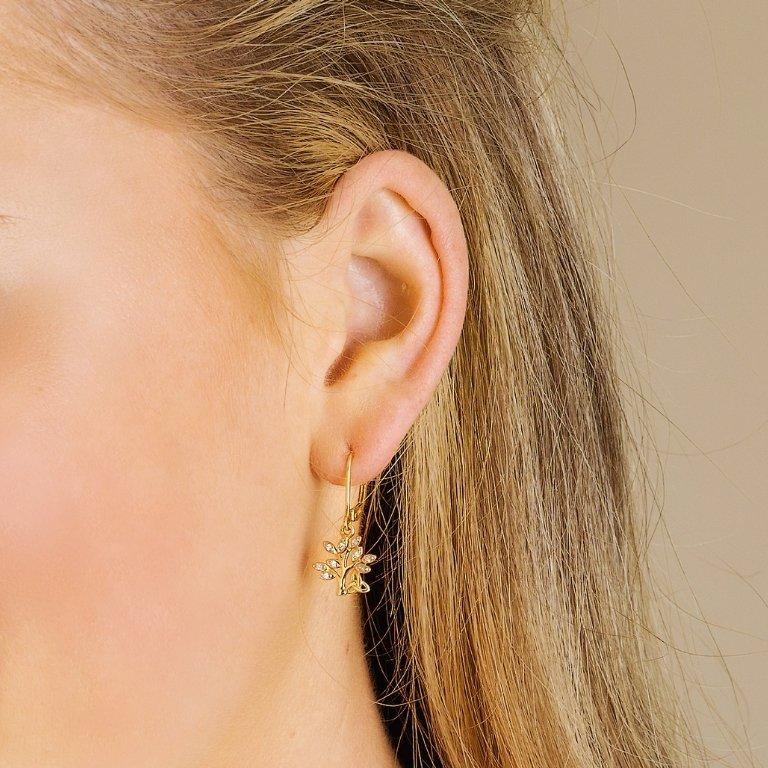 14K Yellow Gold Diamond Tree Of Life Drop Earrings