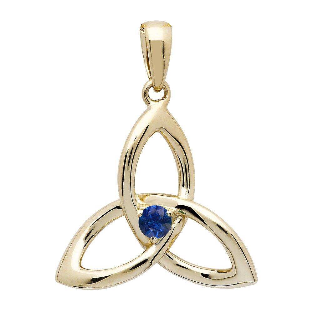 14K-Yellow-Gold-Sapphire-Trinity-Knot-Pendant