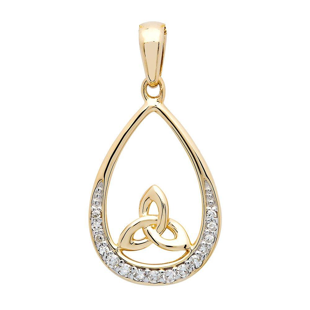 14K-Yellow-Gold-Trinity-Knot-Diamond-Set-Pendant