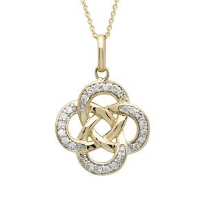 14K Gold Celtic Knot Diamond Set Pendant 14P666