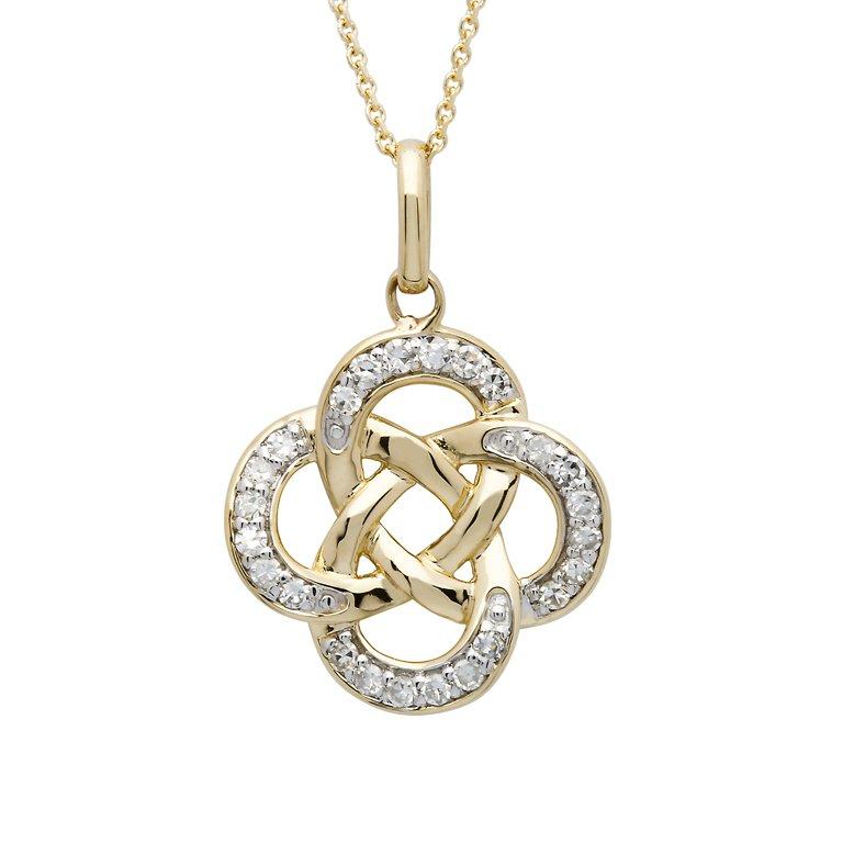 14K Gold Celtic Knot Diamond Set Pendant 14P666