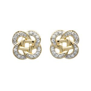 14K Gold Celtic Knot Diamond Set Stud Earrings 14E667