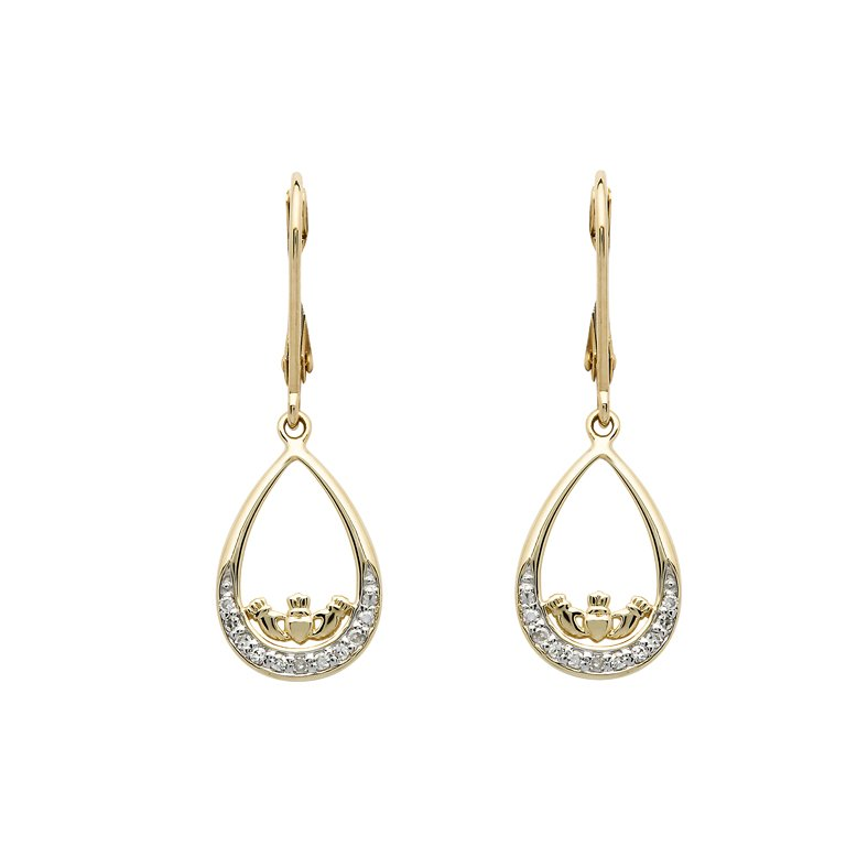 14K Gold Diamond Set Claddagh Drop Drop Earrings 14E691