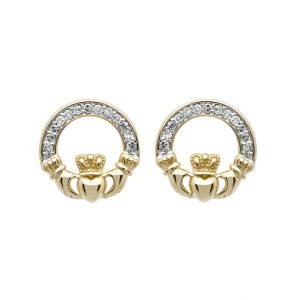 14K Gold Diamond Set Claddagh Stud Earrings 14E662