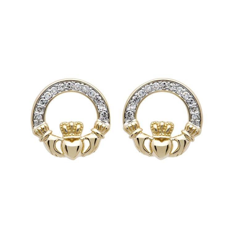 14K Gold Diamond Set Claddagh Stud Earrings 14E662