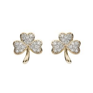 14K Gold Diamond Set Shamrock Stud Earrings 14E671