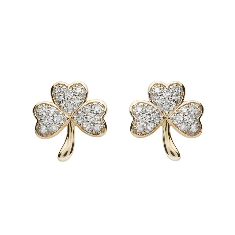 14K Gold Diamond Set Shamrock Stud Earrings 14E671