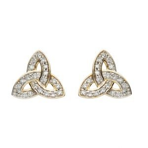 14K Gold Diamond Set Stud Trinity Knot Earrings 14E686