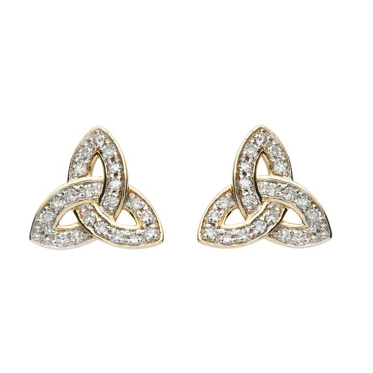 14K Gold Diamond Set Stud Trinity Knot Earrings 14E686