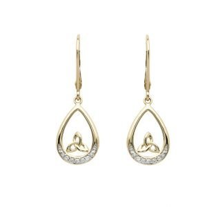 14K Gold Diamond Set Trinity Knot Drop Earrings 14E689