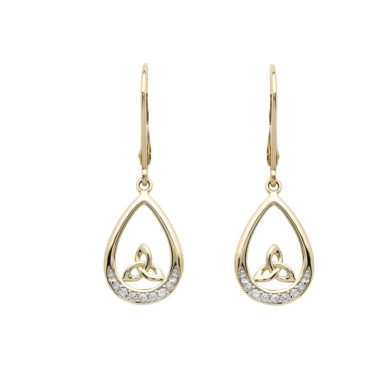 14K Gold Diamond Set Trinity Knot Drop Earrings 14E689