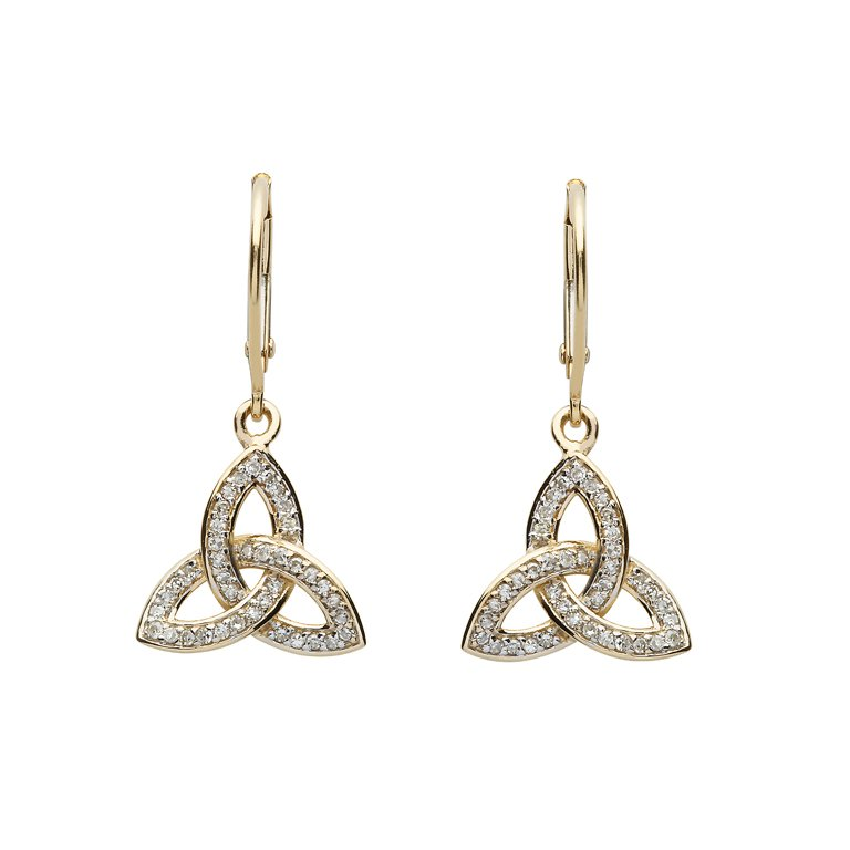 14K Gold Diamond Set Trinity Knot Earrings 14E685