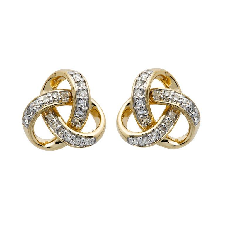 14K Gold Diamond Set Trinity Knot Stud Earrings 14E678