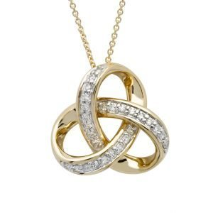 14K Gold Diamond Set Trinity Pendant 14P677
