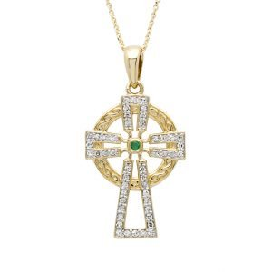 14K Gold Emerald And Diamond Cross 14P679