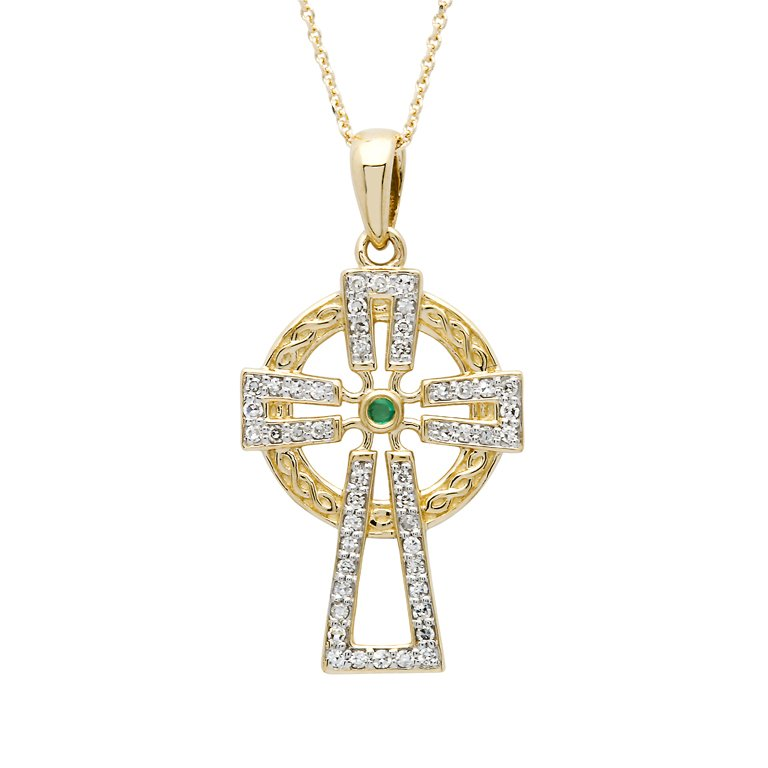 14K Gold Emerald And Diamond Cross 14P679