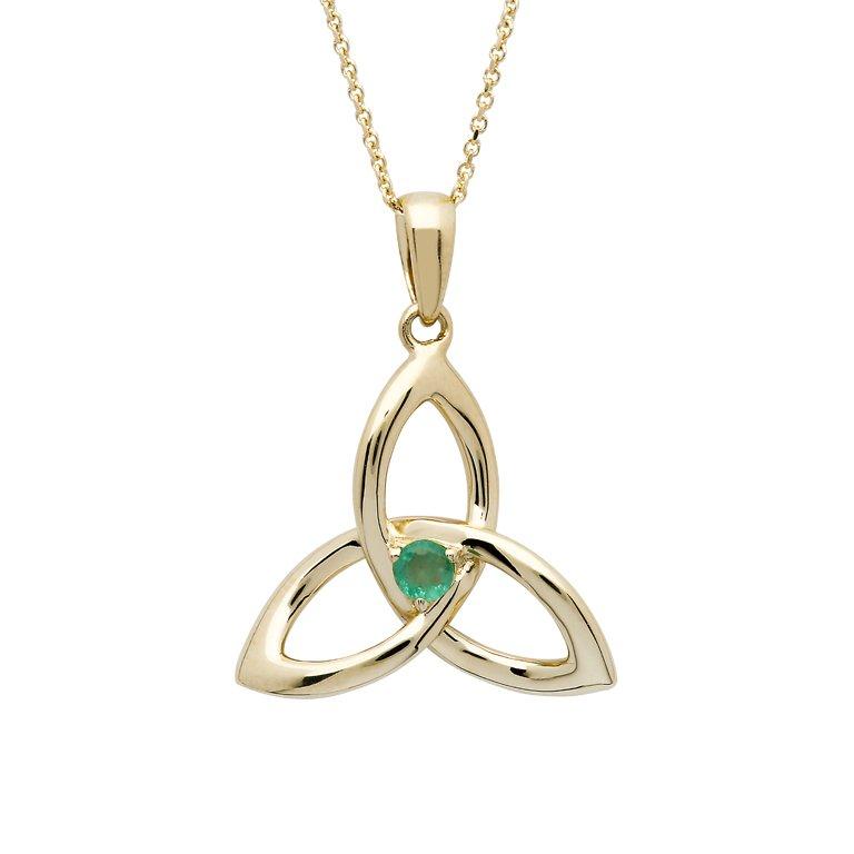 14K Gold Emerald Trinity Knot Pendant 14P680