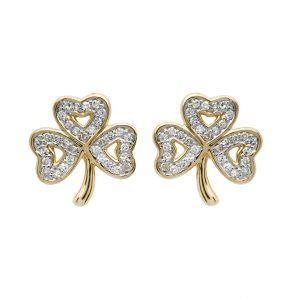 14K Gold Shamrock Diamond Set Stud Earrings 14E669