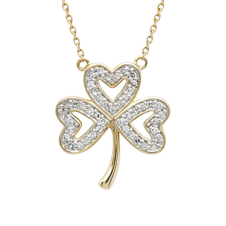 14K Gold Shamrock Pendant Encrusted With Diamonds 14P668