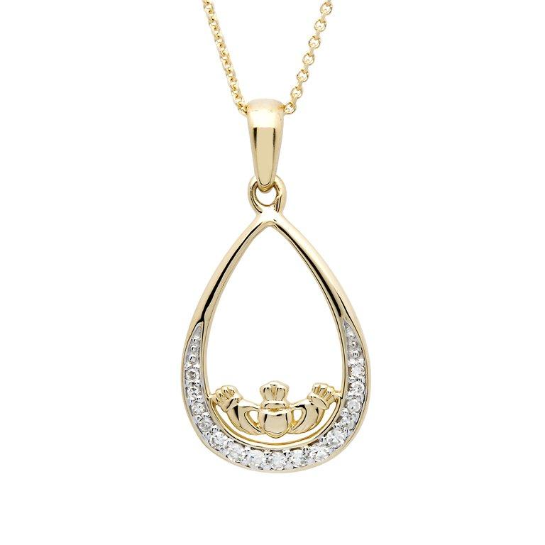 14K Gold Teardrop Diamond Set Claddagh Pendant 14P690