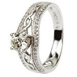 14K White Gold Pave Set Diamond Engagement Ring With Celtic Knot Design Jp21W - Gallery Thumbnail Image