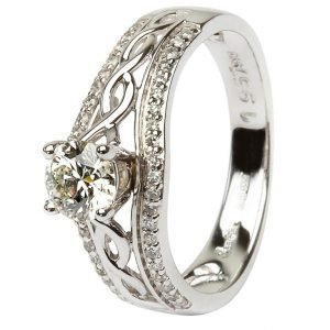 14K White Gold Pave Set Diamond Engagement Ring With Celtic Knot Design Jp21W