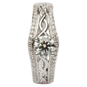 14K White Gold Pave Set Diamond Engagement Ring With Celtic Knot Design Jp21W_2