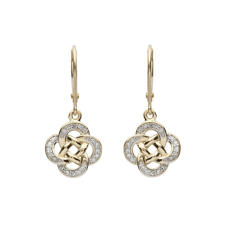 14K Yellow Gold Celtic Drop Earrings With Pave Set Diamonds 14E668