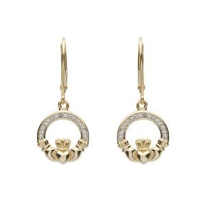 14K Yellow Gold Claddagh Drop Earrings With Pave Set Diamonds 14E663