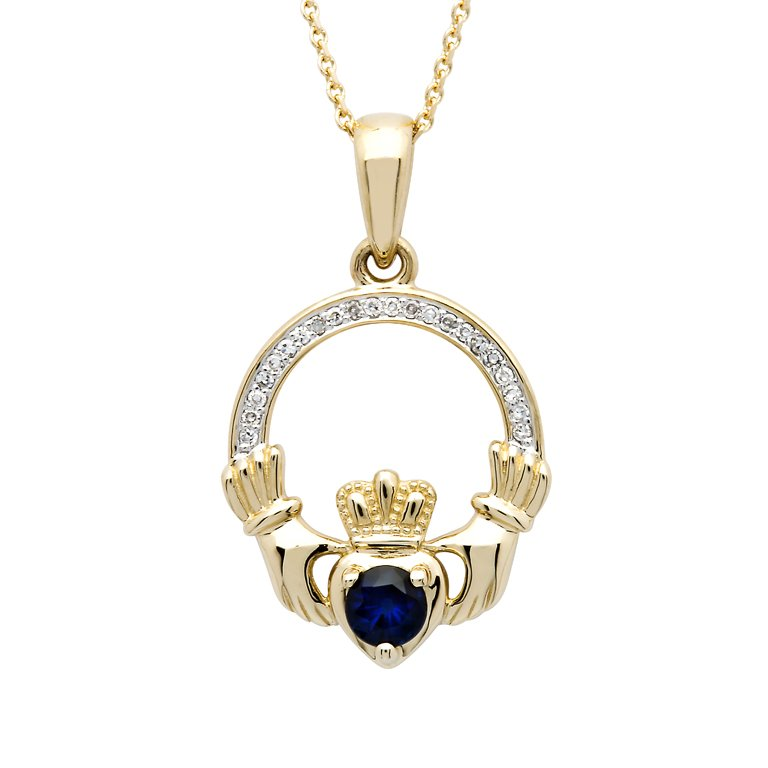 14K Yellow Gold Claddagh Pendant Set With Diamond And Sapphire 14P673
