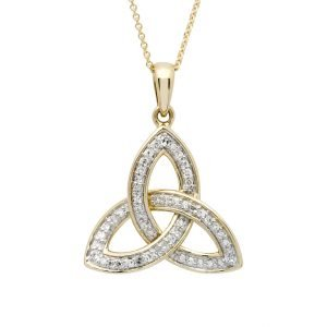 14K Yellow Gold Diamond Encrusted Trinity Knot 14P684
