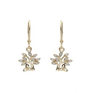14K Yellow Gold Diamond Tree Of Life Drop Earrings 14E676