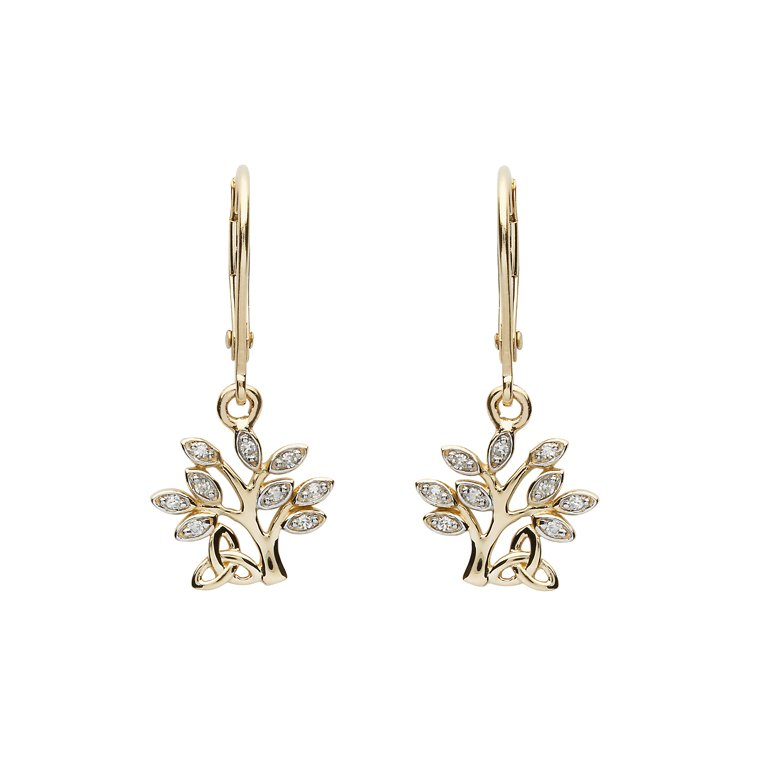 14K Yellow Gold Diamond Tree Of Life Drop Earrings 14E676