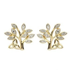 14K Yellow Gold Diamond Tree Of Life Stud Earrings 14E675