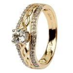 14K Yellow Gold Pave Set Diamond Engagement Ring With Celtic Knot Design Jp21 - Gallery Thumbnail Image