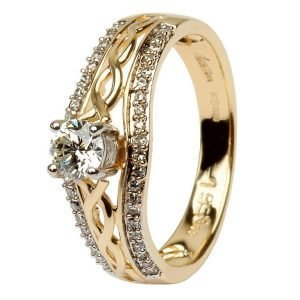 14K Yellow Gold Pave Set Diamond Engagement Ring With Celtic Knot Design Jp21