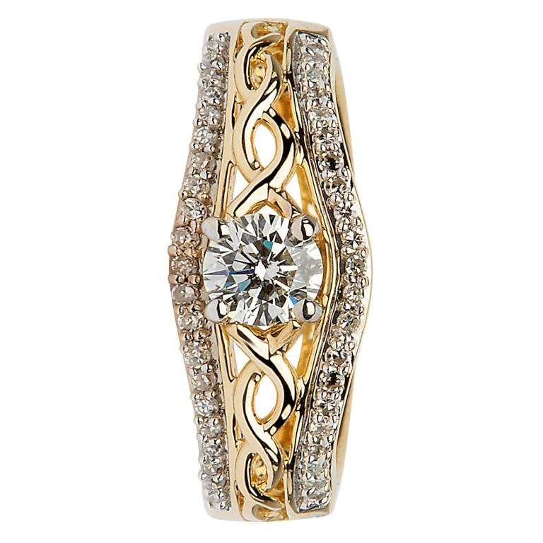 14K Yellow Gold Pave Set Diamond Engagement Ring With Celtic Knot Design Jp21_2