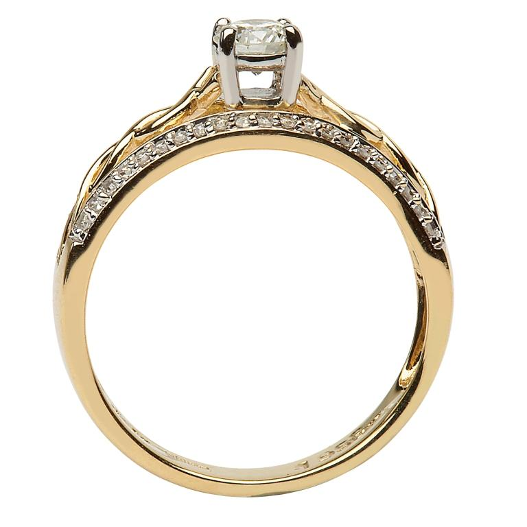 14K Yellow Gold Pave Set Diamond Engagement Ring With Celtic Knot Design Jp21_3
