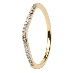 14K Yellow Gold Pave Set Matching Wedding Ring For Jp21 Jp22