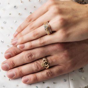 14K Yellow Gold Pave Set Matching Wedding Ring For Jp21 Jp22_2