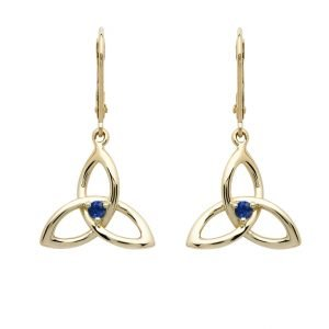 14K Yellow Gold Sapphire Trinity Earrings 14E683