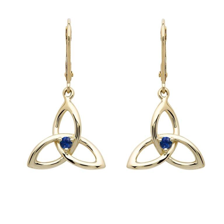 14K Yellow Gold Sapphire Trinity Earrings 14E683