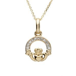 14K Yellow Gold Small Claddagh Pendant With Pave Set Diamonds 14P665