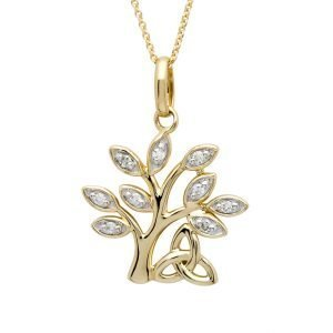 14K Yellow Gold Tree Of Life Diamond Set Pendant 14P674