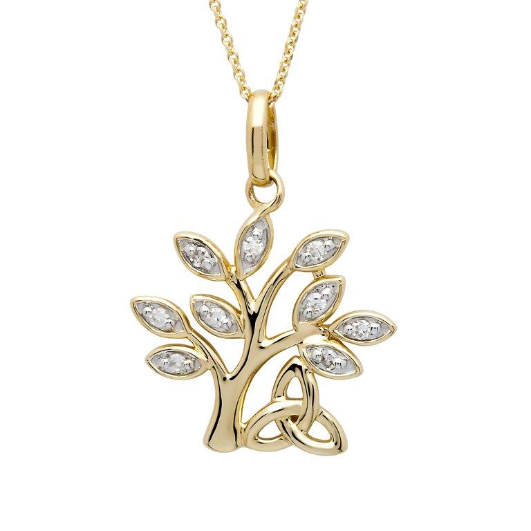 14K Yellow Gold Tree Of Life Diamond Set Pendant 14P674