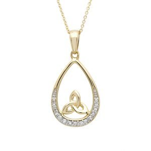 14K Yellow Gold Trinity Knot Diamond Set Pendant 14P688