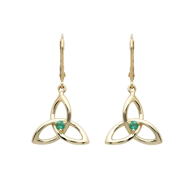 14K Yellow Gold Trinity Knot Emerald Earrings 14E682