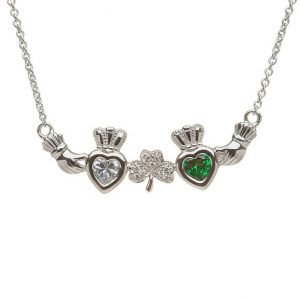 2 Stone Shamrock Mothers Pendant Mp2 S