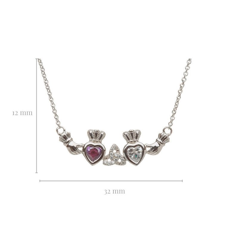 2 stone trinity knot mothers pendant with measurement